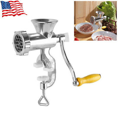 Hand Operated Manual Meat Grinder Sausage Beef Mincer Table Kitchen Silver USBW7