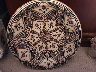 """Vintage Moroccan Hand Painted 15"""" Serving Bowl Signed"""