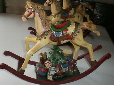 Traditional Hand Crafted Wooden Rocking Horse.Luxury Christmas Decoration.