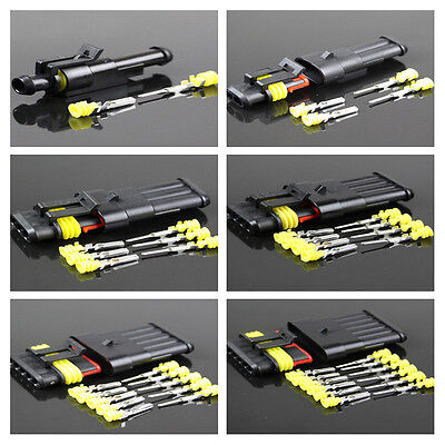 5Kit 1-6Pin Way Sealed Waterproof Electrical Wire Connector Plug Car Auto Set ZY