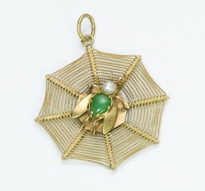 Antique Chinese Jade Pearl 14K Yellow Gold Spiderweb Fly Pendant