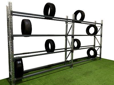 Boltless Tyre Racking, Heavy duty, 1 - 6 bays complete with 4 levels