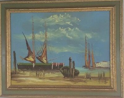 Framed Original Oil Painting Mid Century European Seascape Boats Harbor Sailing