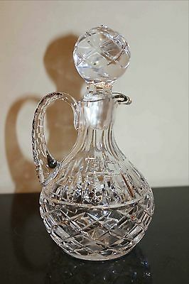 Antique Cut-Crystal Ewer with Matching Hand-Cut Stopper, Hand Blown, Very Fine
