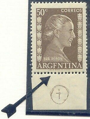 ARGENTINA 1952 Eva Peron 50 C olive brown U/M MAJOR VARIETY WRONG COUNTRY-LETTER