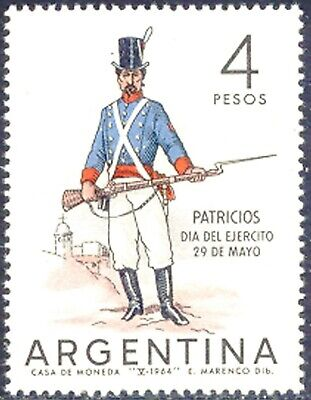ARGENTINA 1964 day of the army 4 P two superb U/M MAJOR VARIETIES: MISSING COLOR