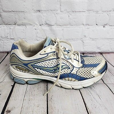 7043a241a575 Saucony Omni 7 Womens Running Shoes Size 9 Athletic Sneakers White Blue