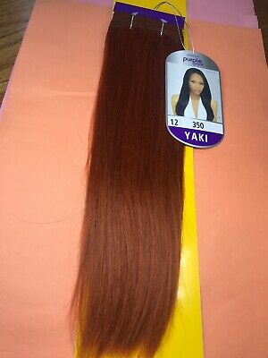 "Outre Premium_Purple_Pack 100% Human Hair Yaki Weave_12""_#350"