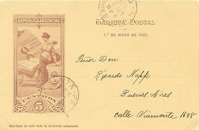 ARGENTINA 1903 50 years National Constitution in Santa Fe 5C postcard superb FDC