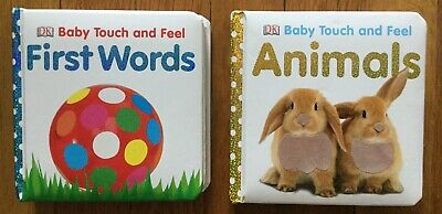 2 (two) Baby Touch And Feel BOOKS (First Words & Animals) w/pictures  & textures