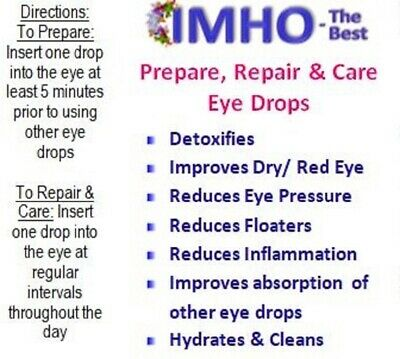 MSM eye drops. Reduce floaters,red eye,dry eye, eye pressure, sharpen vision.