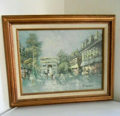 P Rambert Oil on Canvas Painting -Paris Street Scene 12x16 Canvas 21x17 Framed
