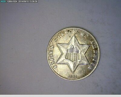 1861 Three Cent Silver Civil War Year ( # 15s82 ) 498,000 Minted