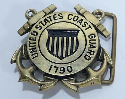 "Vintage US Coast Guard Brass Belt Buckle BBB 1790 D4160 2.5"" Square Heavy"