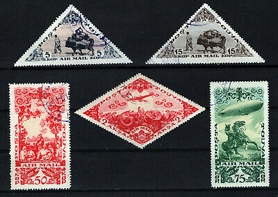 Tannu Tuva Scott #C10, C12, C14, C15 & C17 - Air Post Stamps - Used - 1936