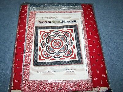 Redwork Meets Bluework Quilt Kit Foundation Paper Piecing By Legacy Patterns New