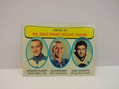 1971/72 Topps Hockey NHL Goals Against Leaders Plante, Giacomin, Esposito #6