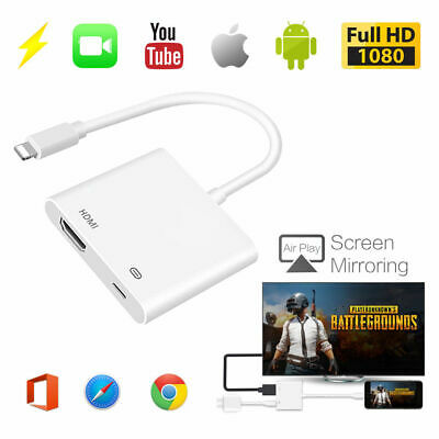Lightning to Digital AV TV HDMI Cable Adapter For Ipad iphone 7 7Plus 8 X XS MAX