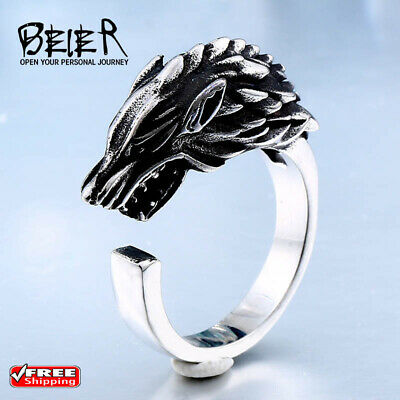 Stainless Steel Game Thrones Wolf House Stark Of Winterfell Ring Free shipping