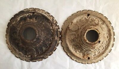 "2 Vintage Chandelier Canopy Cast Iron 7 3/8"" Escucheon Rosette"