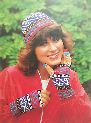 Girls Ladies HAT GLOVES KNITTING PATTERN DK Fair Isle Intarsia colourful 1 size