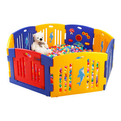 Mamakids Plastic Baby Playpen with Activity Panel with Play Fun Alphabets Mats