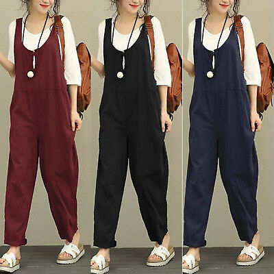 Womens Romper Jumper Dungarees Oversized Long Overalls Loose Wide Leg Jumpsuit