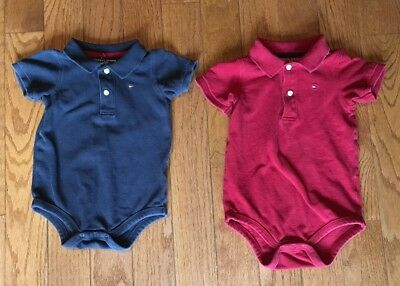 Set of 2 Tommy Hilfiger Baby Boys Short Sleeve Polo Shirts Red Blue 18 months