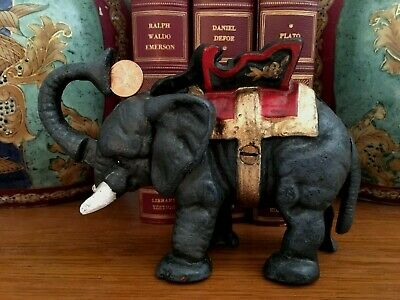 "VINTAGE CAST IRON CIRCUS ELEPHANT MECHANICAL BANK~Put coin in trunk~7"" long~3 Lb"