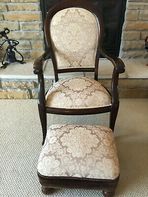 Antique Chair & Ottoman Newly Upholstered With Wood Arms