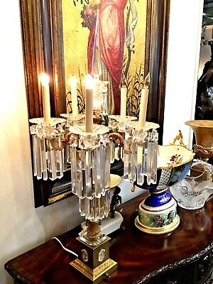 Schonbeck Electrified Bronze and Crystal Candelabra