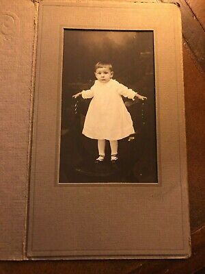Antique Photograph Young Child White Dress in Paper Folder / Mat