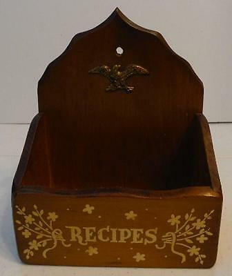 Vintage Wood Recipe Index Card Box Eagle Emblem Wall Mount Or Free Standing