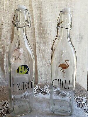 rae dunn glass bottles (2) NWT excellent condition. Flamingo&fish! Free ship!