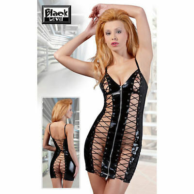 MINI ABITO LACCATO NERO CON INTRECCI Black Level Fetish Erotic tg M