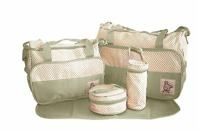 + 5pcs Khaki Baby Nappy Changing Bag Set Diaper Bag Shoulder Bag Travel 5,35