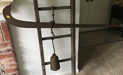 Vintage Farm Primitive Cotton/Tobacco Marked Balance Scale & Weight
