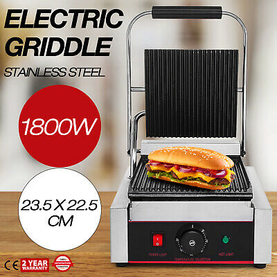 1800W Electric Contact Grill Griddle Toaster Panini Grill Sandwich Press Bacon