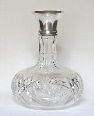 Antique ABP Cut Crystal Clear Decanter w/ Sterling Collar