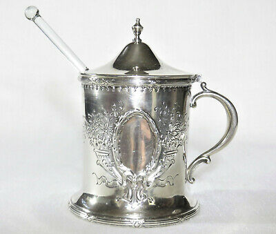 Redlich & Co Sterling Honey Pot w/ Glass Liner & Ladle