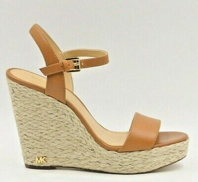 0c96b988f6a MICHAEL MICHAEL KORS Jill Wedge Espadrille Wedge Sandal Size US 6M Acorn  Leather