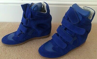 9cd5d4638 Isabel Marant Women's Shoes High Top Blue Suede Trainers Sneakers Uk 7 Eu 40