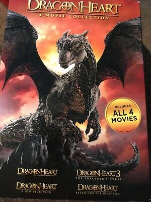 Dragonheart: 4-Movie Collection (DVD, 2017, 4-Disc Set) Slipcover SEALED