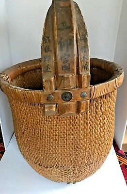 Chinese Rice Gathering Basket Woven Willow Intersectingh Bent Elm Handle