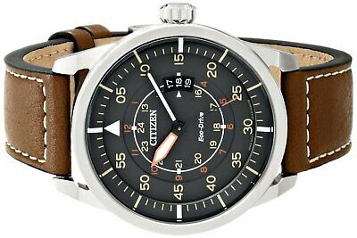 Citizen Men's Eco Drive AW1361-10H Stainless Steel Watch With Leather Strap