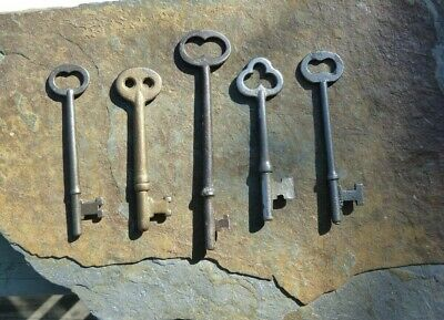 Five  Antique Vintag  Mortise Lock Skeleton Keys For Antique & Vintage Doors