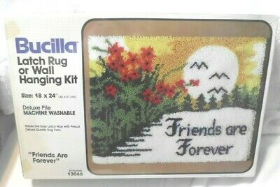 """Vintage Latch Hook Kit Bucilla Friends Are Forever 13066  18 x 24"""" NEW SEALED"""