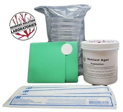 Nutrient Agar Kit , 350ml-Sterilzed Nutrient Agar+10, 100mm Petri Dishes+Swabs