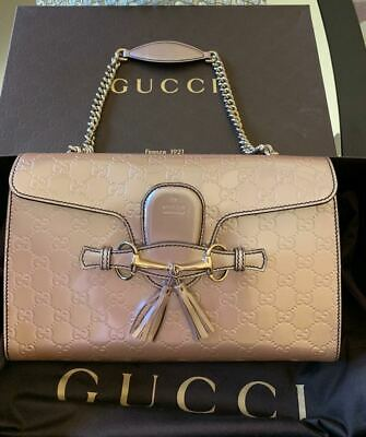 c3c28e3c0739 Emily Guccissima Shoulder Bag Crossbody Chain Leather Rose AUTHENTIC Gucci  Italy