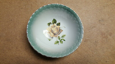 Vintage Wheelock China Serving Bowl Trademark 1 8502 Green w/Brown Rose 7 3/16""